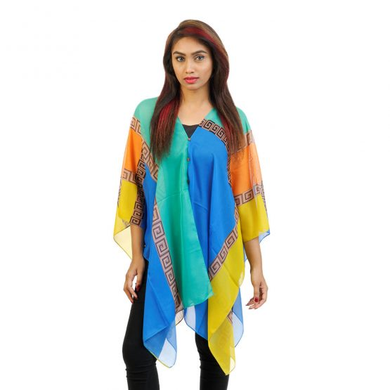 Abstract Print 4 Way Wearable Poncho in  Blue with multi color