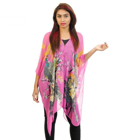Peacock Print 4 Way Wearable Pouncho in Pink with multicolor