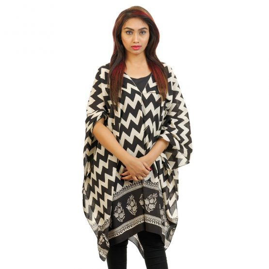 Chevron With Border 4 Way Wearable Poncho in Black and White.