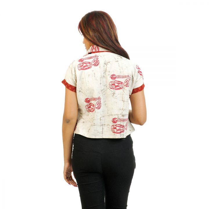 Extended Sleeve Block Printed Crop Shirt with Beige