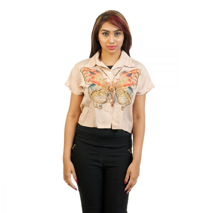 Extended Sleeve Printed  Beige Crop Shirt