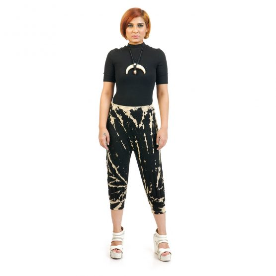 3/4 Tie & Dye Trouser With Elastic Bottom in Black, Beige and Multicolor