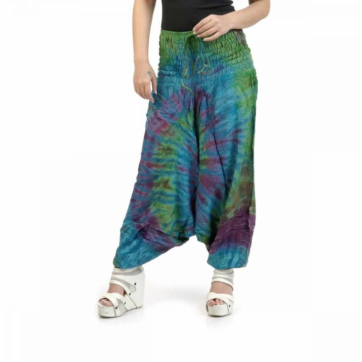 Peacock color stylish, printed Afghan trouser/jumpsuits for women at Funky Fusion