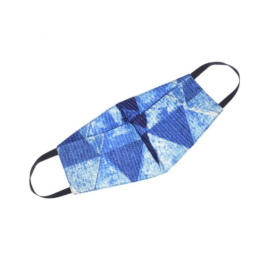 Cotton face mask indigo dumru print