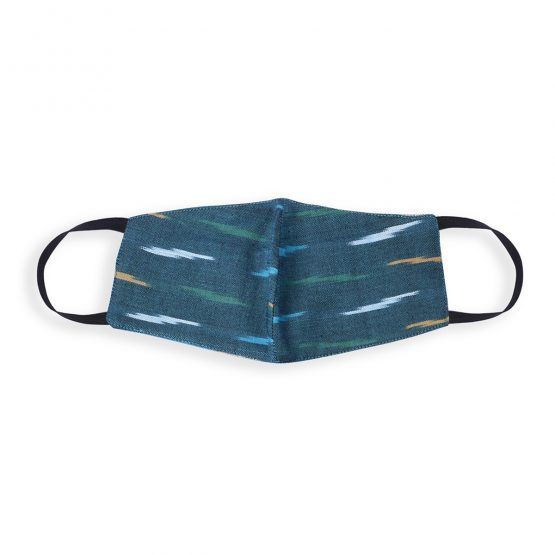 cotton face mask in greenish blue ikat