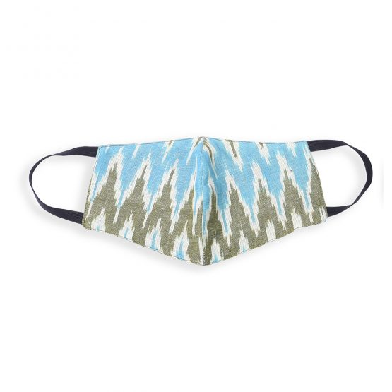 cotton face mask with ikat blue print