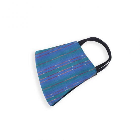 cotton face mask with blue ikat print