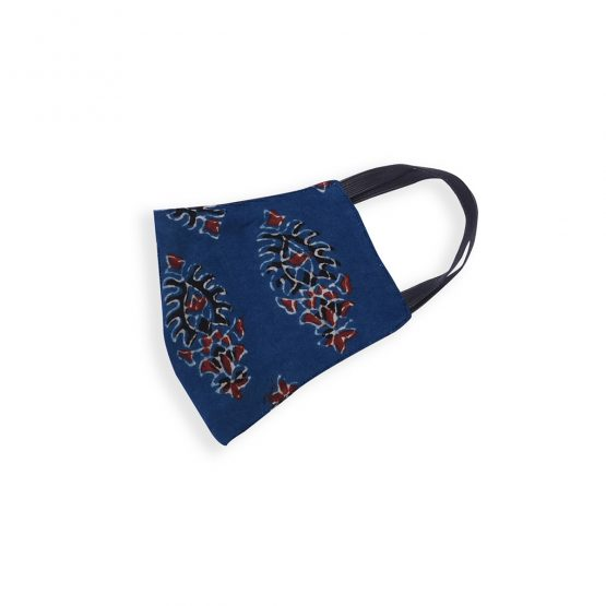 Cotton Face Mask Blue Ajrakh Print
